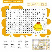 Educational Game For Kids. Word Search Puzzle With Clothes. Kids Activity Sheet. Word Search Puzzle  poster
