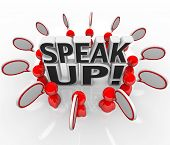 A group of talking people with speech clouds around the words Speak Up to symbolize the sharing of t