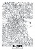 Vector Poster Detailed City Map Dublin Detailed Plan Of The City, Rivers And Streets poster