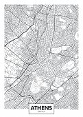 City Map Athens, Travel Vector Poster Design Detailed Plan Of The City, Rivers And Streets poster