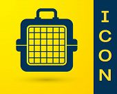 Blue Pet Carry Case Icon Isolated On Yellow Background. Carrier For Animals, Dog And Cat. Container  poster