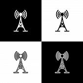 Set Antenna Icons Isolated On Black And White Background. Radio Antenna Wireless. Technology And Net poster