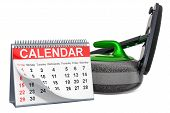 Curling Broom And Curling Stone With Calendar, Curling Events Calendar Concept. 3d Rendering Isolate poster