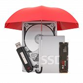 Hard Disk Drive Hdd, Solid State Drive Ssd, M2 Ssd And Usb Flash Drive Under Umbrella, Protection Co poster