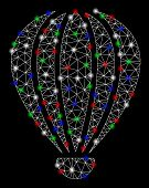 Bright Mesh Aerostat With Glare Effect. White Wire Frame Polygonal Network In Vector Format On A Bla poster