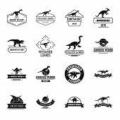 Dinosaur Logo Icons Set. Simple Illustration Of 16 Dinosaur Logo Icons For Web poster