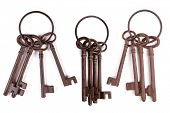 Rusty keys on a keychain.