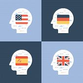 Learning Foreign Language Concept, American And British English, Spanish And German Linguistics Coar poster