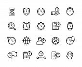 Time Management Line Icons. Stopwatch, Alarm And Hourglass Thin Vector Symbols. Timekeeping And Busi poster