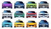 Car Front View Set. Urban City Traffic Vehicle Model Cars. Police And Taxy Color Fast Auto Traffic D poster