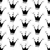 Cute Cartoon Crown Background With Hand Drawn Crowns. Sweet Vector Black And White Crown Background. poster