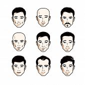 Set Of Men Faces, Human Heads. Different Vector Characters Like Brunet, Bald, With Whiskers Or Beard poster