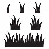 Grass Icon On White Background. Flat Style. Black Grass Silhouettes Icon For Your Web Site Design, L poster