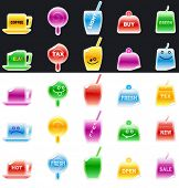 Set of colored cup, sugarplum, glass, cake, drink ...