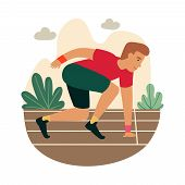 Cartoon Sprinter Ready To Sprint On Starting Line. Funny Guy Get Ready To Start Marathon. Athlete Ru poster