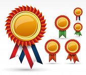 foto of rosette  - Red award ribbon rosette or gold medal - JPG