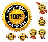 picture of 100 percent  - Vector money back guarantee sign - JPG