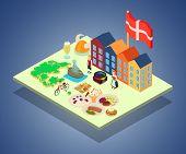 Scandinavia Concept Banner. Isometric Banner Of Scandinavia Concept For Web, Giftcard And Postcard poster