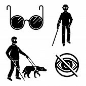 Blind People Icons Set. Simple Set Of Blind People Icons For Web Design On White Background poster