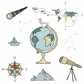 Globe, Maps, Compass And Others School Subjects. School And Study Subjects. Geography Science Vector poster