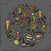 Craft Beer Hand Drawn Elements Set In Circle. Outline Black Icons Of Craft Beer Things. Craft Beer I poster