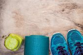 Everything For Sports Turquoise, Blue Shades On A Wooden Background And Spinach Smoothies. Yoga Mat, poster