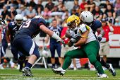 INNSBRUCK, AUSTRIA - JULY 8: FB Kieren Lansdell (#37 Australia) is tackled at the Football World Cha