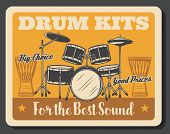 Drum Kit, Rock Music Percussion Instrument Vector Design. Professional Set Of Snare And Bass Drums,  poster