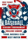 Baseball Sport Game Championship Match Of College League Season Tournament Vector Design. Softball B poster
