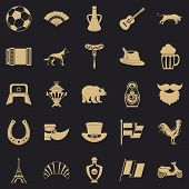 Eiffel Tower Icons Set. Simple Set Of 25 Eiffel Tower Vector Icons For Web For Any Design poster