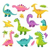 Cartoon Dinosaur. Cartoon Cute Baby Dino Triceratops Prehistoric Wild Animals Brontosaurus Isolated  poster