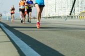 Young Woman Running On City Bridge Road. Female Leader Athlete Runner Running City Marathon. Maratho poster