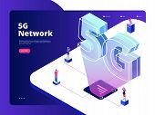 Network 5g. Wireless Data Transmission 5g Technology Internet Speed Broadband Five Hotspots Wifi Glo poster