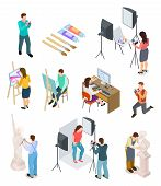 Isometric Artist. Art Studio Artistic Photo Sculpture Artists Sculptor Painting Working Picture Crea poster