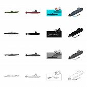 Vector Illustration Of War  And Ship Logo. Collection Of War  And Fleet Stock Vector Illustration. poster