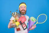 Choose Sport You Like. Sport Concept. Sport Shop Assortment. Get Body Ready For Summer. Man Bearded  poster