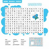 Words Puzzle Children Educational Game. Learning Vocabulary. Insects Word Search Game. poster