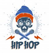 Hip Hop Music Vector Logo Or Label With Wicked Skull And Two Microphones Crossed Like Crossbones, Ra poster