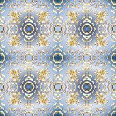 Classic Vintage Background. Traditional Orient Ornament. Seamless Pattern On Neutral, Blue And White poster