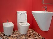 Modern Home Bathroom Interior Design With White Washbasin, Toilet, Bidet And Vivid Red Walls poster