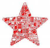 Star Collage Icon Combined For Bigdata And Computing Purposes. Vector Star Mosaics Are Composed From poster