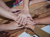 Start Up Business Teamwork Cooperation Hands Together. Teamwork Successful High Five Together. Peopl poster