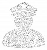 Mesh Army Sergeant Polygonal Icon Illustration. Abstract Mesh Lines And Dots Form Triangular Army Se poster