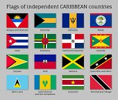 Flags Of Independent Caribbean Countries. Officially Recognized Flags Of States In Flat Style Isolat poster