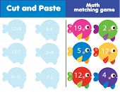 Matching Children Educational Game. Match Fish And Numbers. Mathematics Activity For Kids And Toddle poster