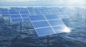3d Illustration Solar Panels In The Sea Or Ocean. Alternative Energy. Concept Of Renewable Energy. E poster