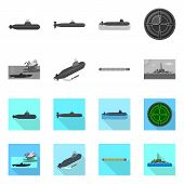Isolated Object Of War  And Ship Symbol. Collection Of War  And Fleet Stock Symbol For Web. poster