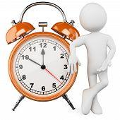 3D Man With A Huge Alarm Clock