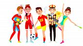 Athlete Set Vector. Man, Woman. Lacrosse, Soccer, Golf, Gymnastics. Group Of Sports People In Unifor poster