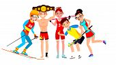 Athlete Set . Man, Woman. Skiing, Boxing, Lacrosse, Table Tennis, Field Hockey. Group Of Sports Peop poster